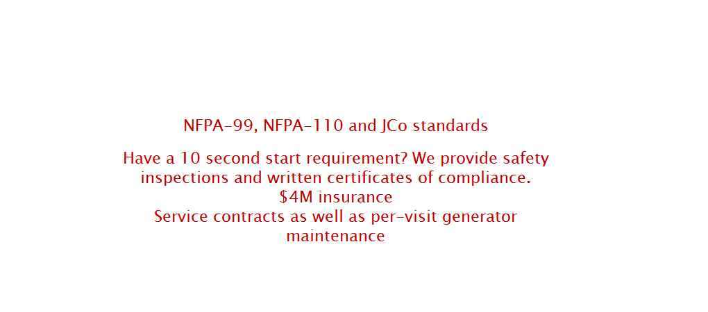NFPA-99,NFPA110 AND JCO STANDARDS